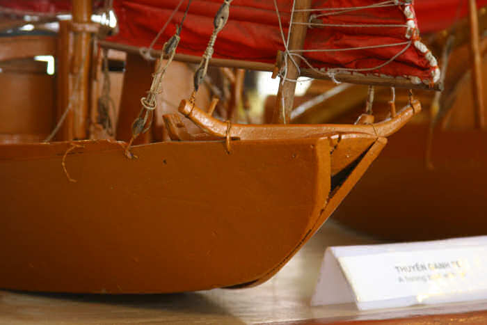Model of a sailboat from Halong Bay, Vietnam showing bow detail