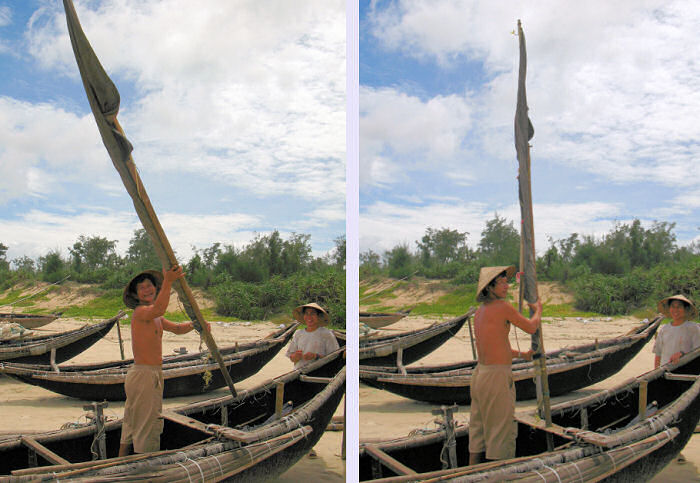 Erecting the Sailing Rig of the Woven Bamboo Basket Boat